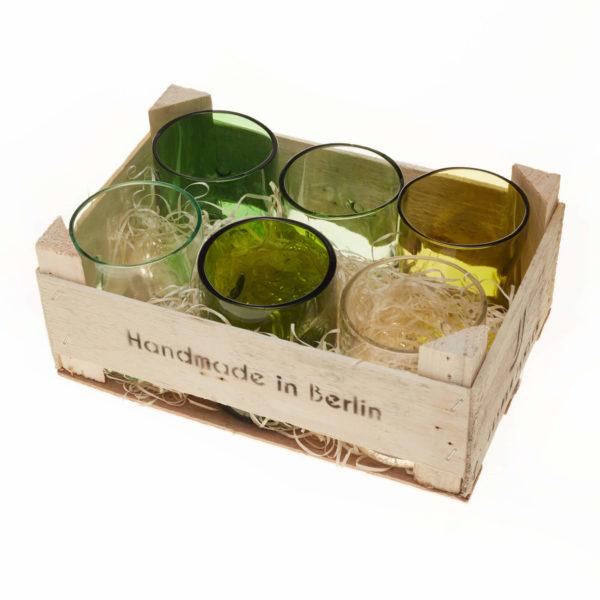 Gläser klein - 6er Set in Holzbox 1