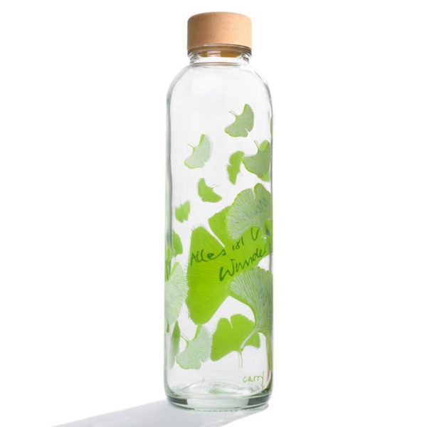 Carry Bottle Free Your Mind Trinkflasche aus Glas mit Holzdeckel. Bei das ökolädchen online kaufen