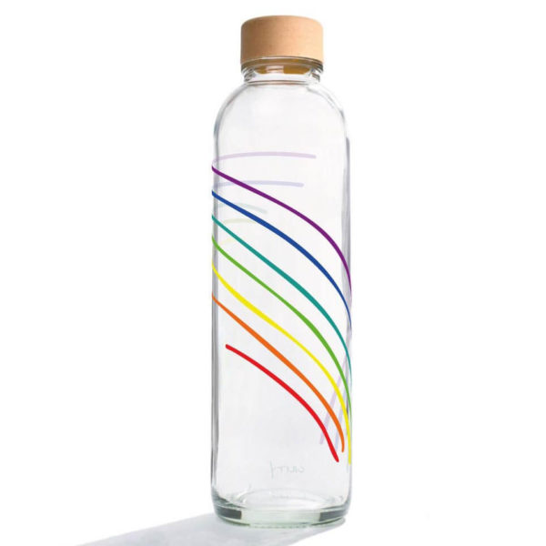 Carry Bottle Rainbow Trinkflasche aus Glas mit Holzdeckel. Bei das ökolädchen online kaufen