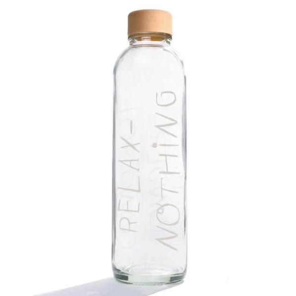 Carry Bottle Relax Trinkflasche aus Glas mit Holzdeckel. Bei das ökolädchen online kaufen