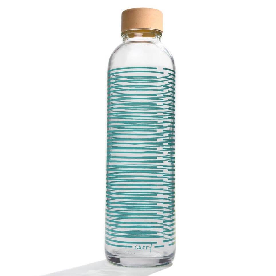 Glastrinkflasche Carry Bottle summer twist Trinkflasche aus Glas mit Holzdeckel. Bei das ökolädchen online kaufen
