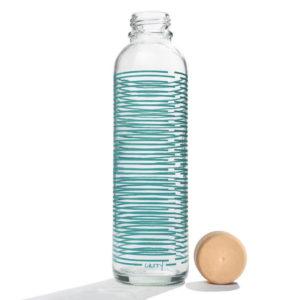 Carry Bottle summer twist Trinkflasche aus Glas mit Holzdeckel. Bei das ökolädchen online kaufen