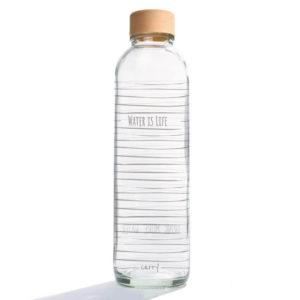 Glastrinkflasche Carry Bottles water is life Trinkflasche aus Glas mit Holzdeckel. Bei das ökolädchen online kaufen