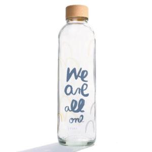 Glastrinkflasche Carry Bottle we are all one Trinkflasche aus Glas mit Holzdeckel. Bei das ökolädchen online kaufen
