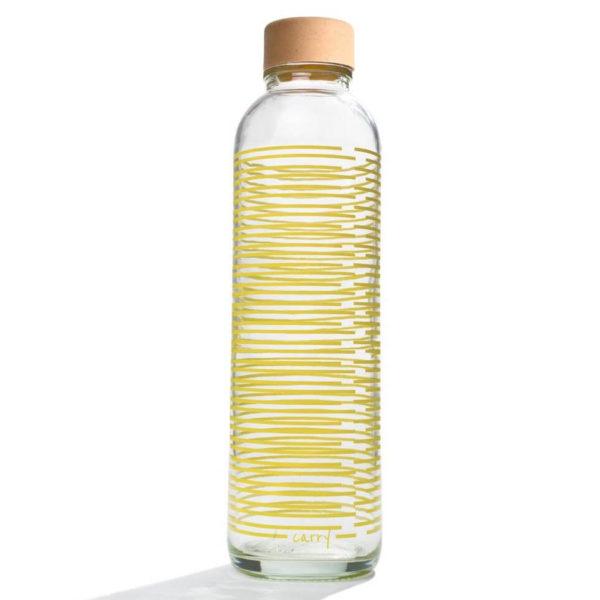 Glastrinkflasche Carry Bottle yellow twist Trinkflasche aus Glas mit Holzdeckel. Bei das ökolädchen online kaufen