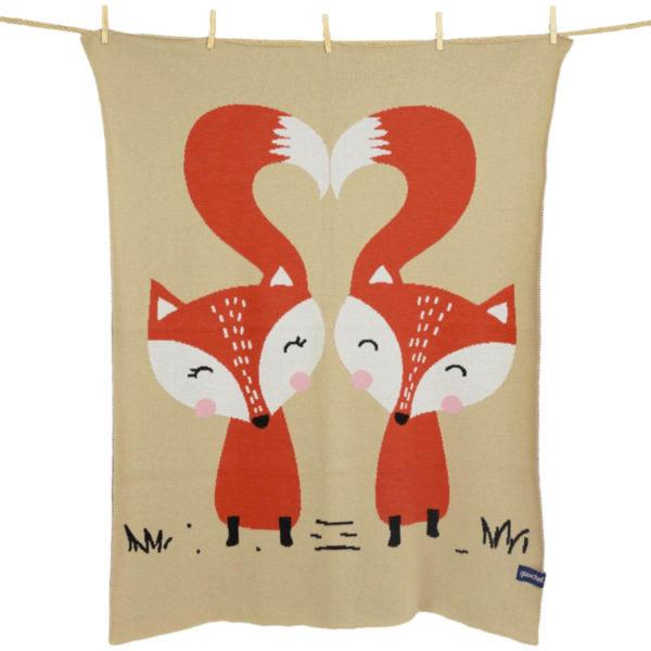 Fox und Fuchsi Kuscheldecke für Kinder und Babys von quschel