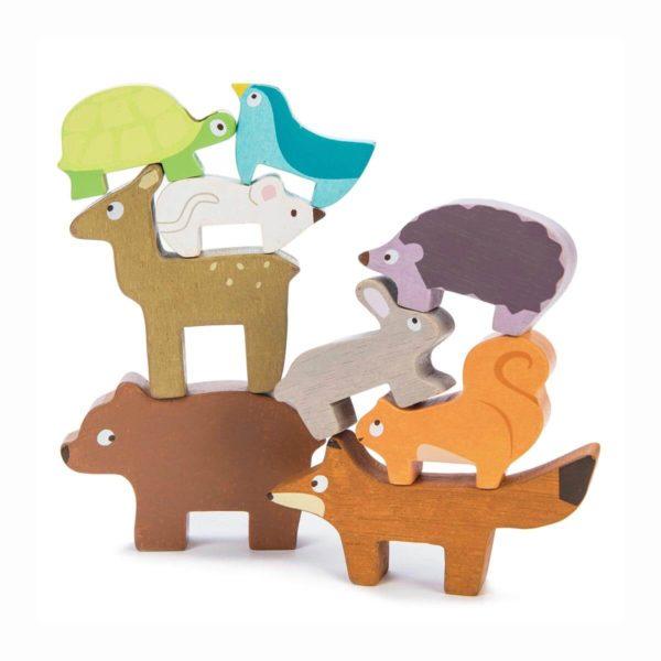 Holzspielzeug von Le Toy Van. 9Wilde Tiere zum stapeln. Stapelsiel aus Holz