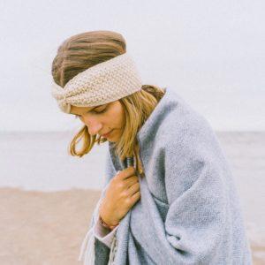 Stirnband aus Merinowolle - wollweiß