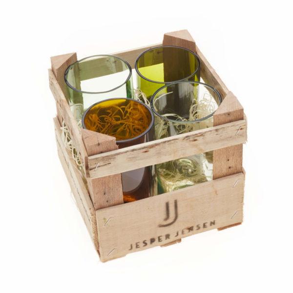 Gläser groß in Holzbox - 4er Set 1