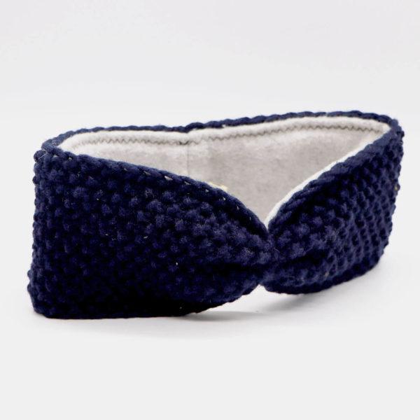 Stirnband aus Merinowolle - blau 1