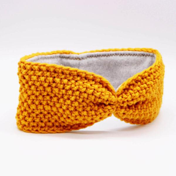 Stirnband aus Merinowolle - curry 2