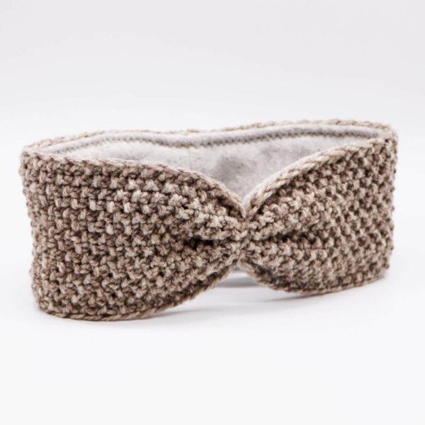 Stirnband aus Merinowolle - hellgrau 1