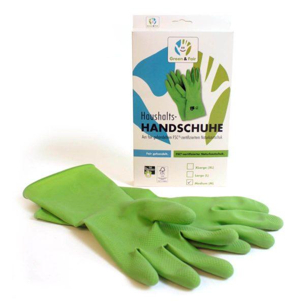 Strapazierfähige Gummihandschuhe für den Haushalt. Hergestellt aus Naturlatex