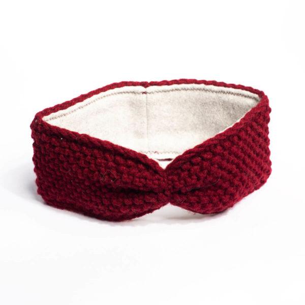 Stirnband Schafswolle, weinrot 1