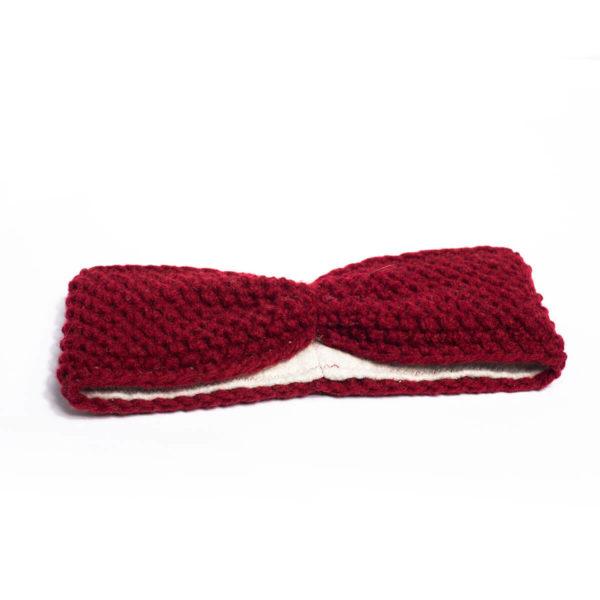 Stirnband Schafswolle, weinrot 2