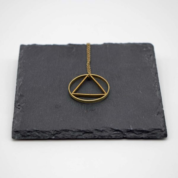 Halskette Shapes Messing, Kreis+Dreieck 1
