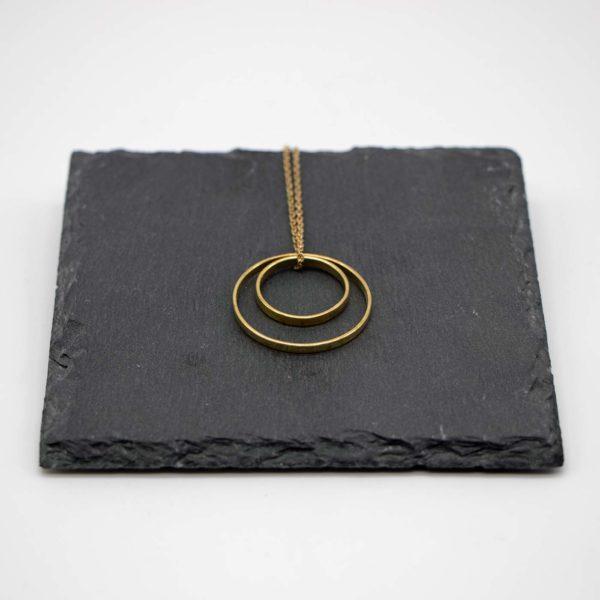 Halskette Shapes Messing, Kreis+Kreis 1