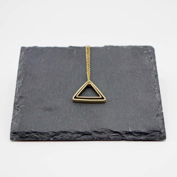 Halskette Shapes Messing, Dreieck+Dreieck 1
