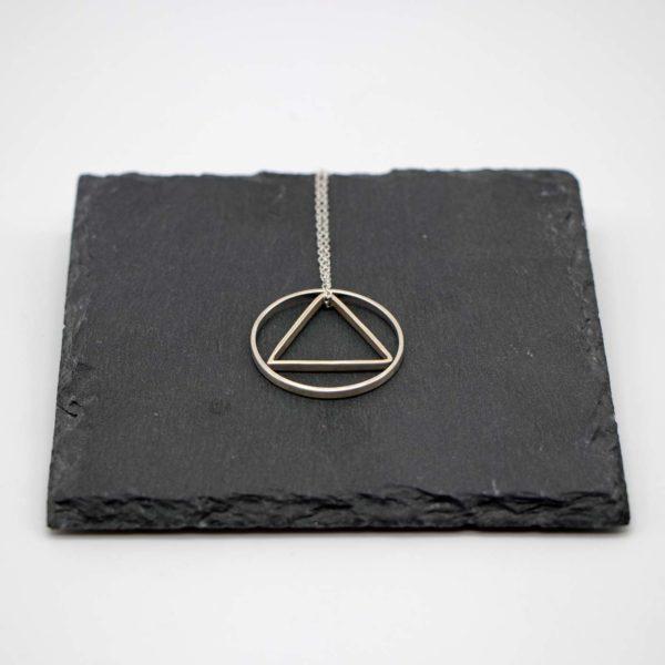 Halskette Shapes Silber, Kreis + Dreieck 1