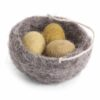 Nest Filz mit 5 Eiern, Gelbtöne