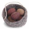 Nest Filz mit 5 Eiern, Rottöne