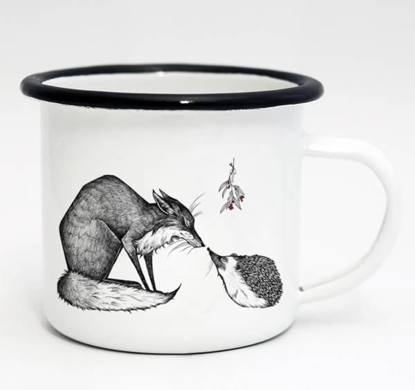 Emaille-Tasse, Fuchs und Igel, 300 ml 1