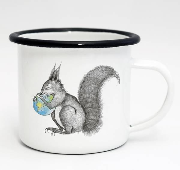 Emaille-Tasse, Eichhörnchen Welt, 300 ml 1