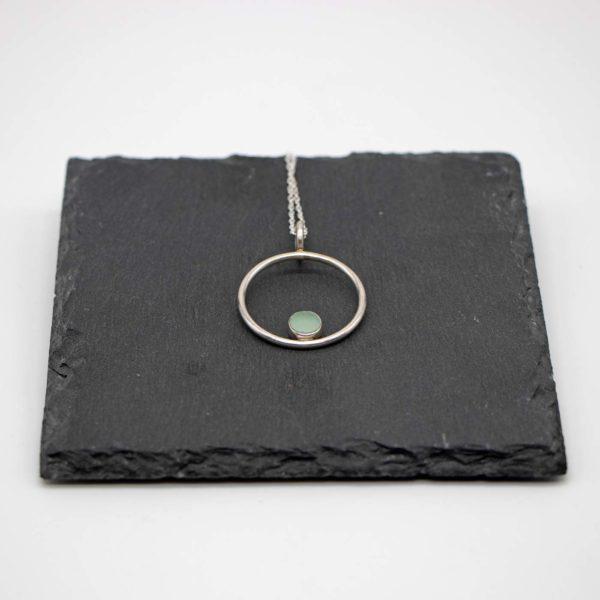 Halskette Circle Stone Silber - Aquamarin 1