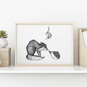 Kunstdruck Fuchs und Igel - DIN A3 3