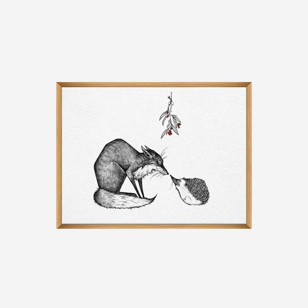 Kunstdruck, Fuchs und Igel, DIN A4 1