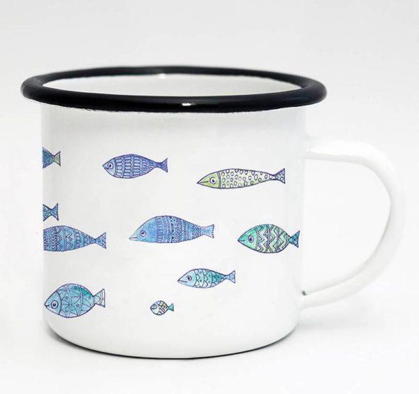 Emaille-Tasse, Fischschwarm, 300 ml 1