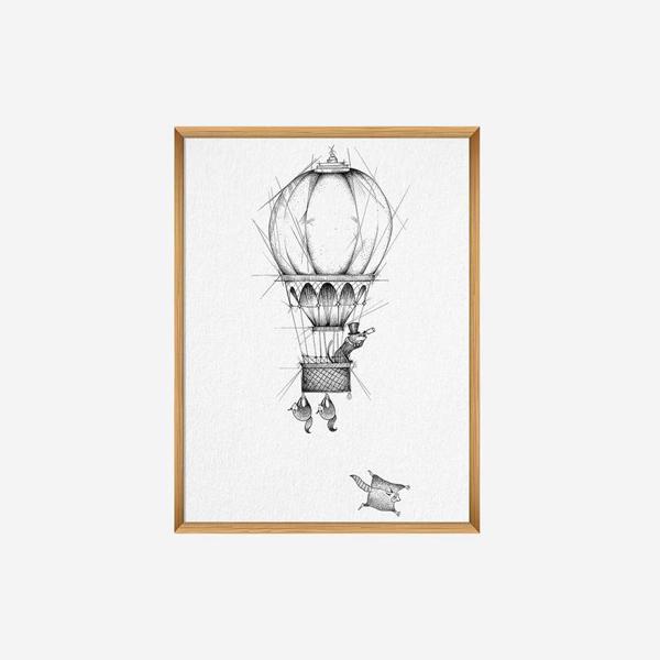 Kunstdruck, A4, Ballonfahrer 1