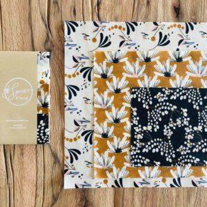 Bienenwachstuch Motiv Blumen - 3er Set Gr. S, M, L