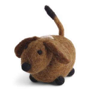 Brauner Hund aus Filz von der Firma Én Gry & Sif