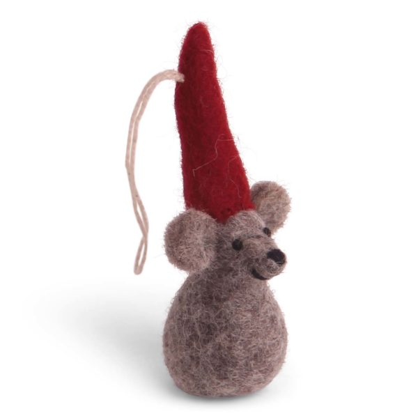 Weihnachtsmaus mit roter Mütze aus Filz von der Firma Én Gry & Sif