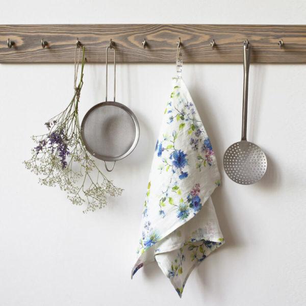 Geschirrtuch aus 100% Leinen - white summer flowers 1