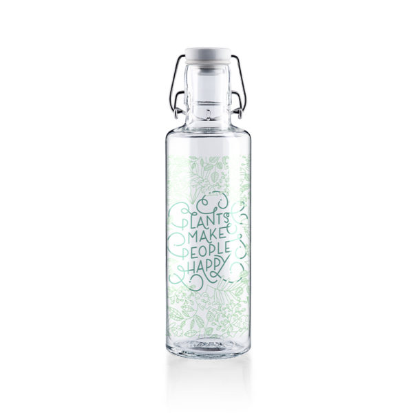 Glastrinkflaschenflasche Plants make people happy - 0,6 l