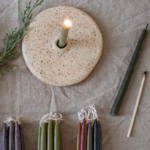 Kerzenhalter aus Keramik - kiesel 6