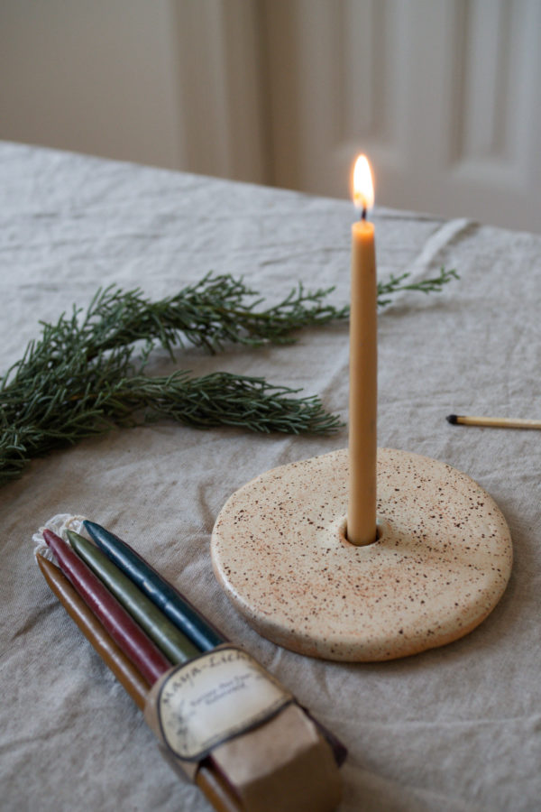 Kerzenhalter aus Keramik - kiesel 3