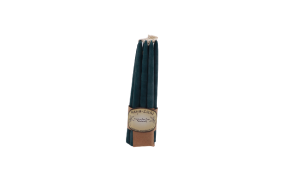Kerzen aus Myrtenwachs petrol - 10er Set 1