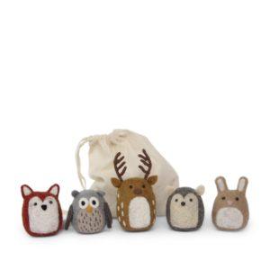 Fuchs, Eule, Hirsch, Igel und Hase aus Filz von der Firma Èn Gry & Sif