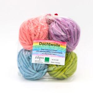 Dochtwolle – 4 Pastellfarben