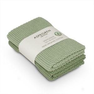 Abwaschtuch 2er Set GOTS - solid laurel green