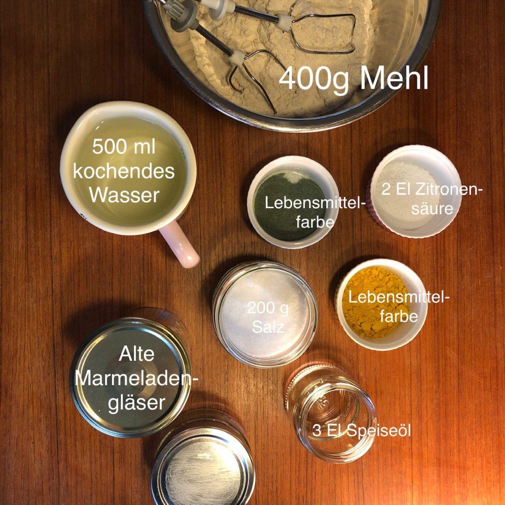 Zutaten für selbstgemachte Knete