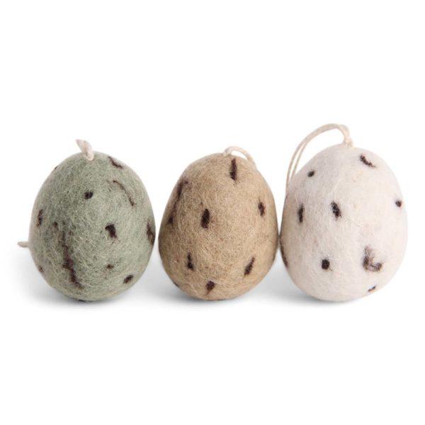 Ostereier Filz natürlich grün – 3er Set
