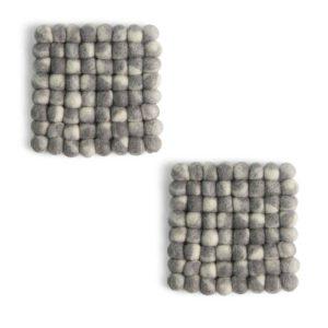 Untersetzer Filz quadratisch – 2er Set grau