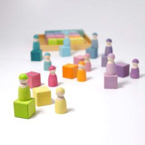 Bauspiel Mosaik pastell mit Regenbogenfreunden von Grimm's