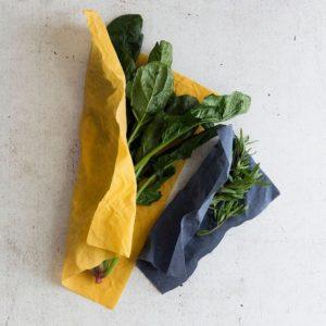 Bienenwachstücher blau/gelb – 2er Set Gr. M, L Spinat