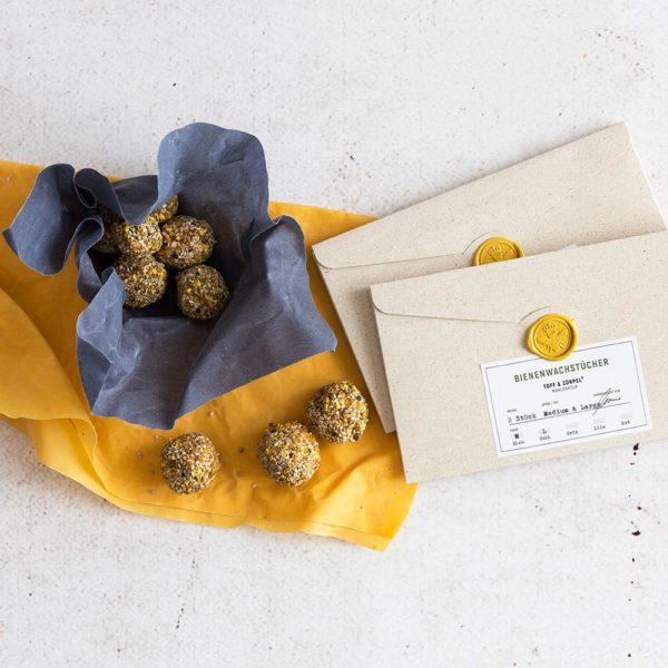 Bienenwachstücher blau/gelb – 2er Set Gr. M, L Graspapiervepackung