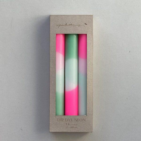 Stabkerzen Dip Dye 3er Set Peppermint Clouds von Pink Stories